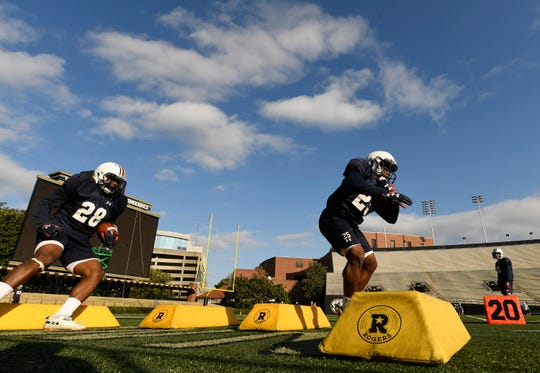 Auburn running backs JaTarvious Whitlow (28) and Shaun Shivers (25) during Music City Bowl practice at Vanderbilt on Tuesday, Dec. 25, 2018 in Nashville, TN.