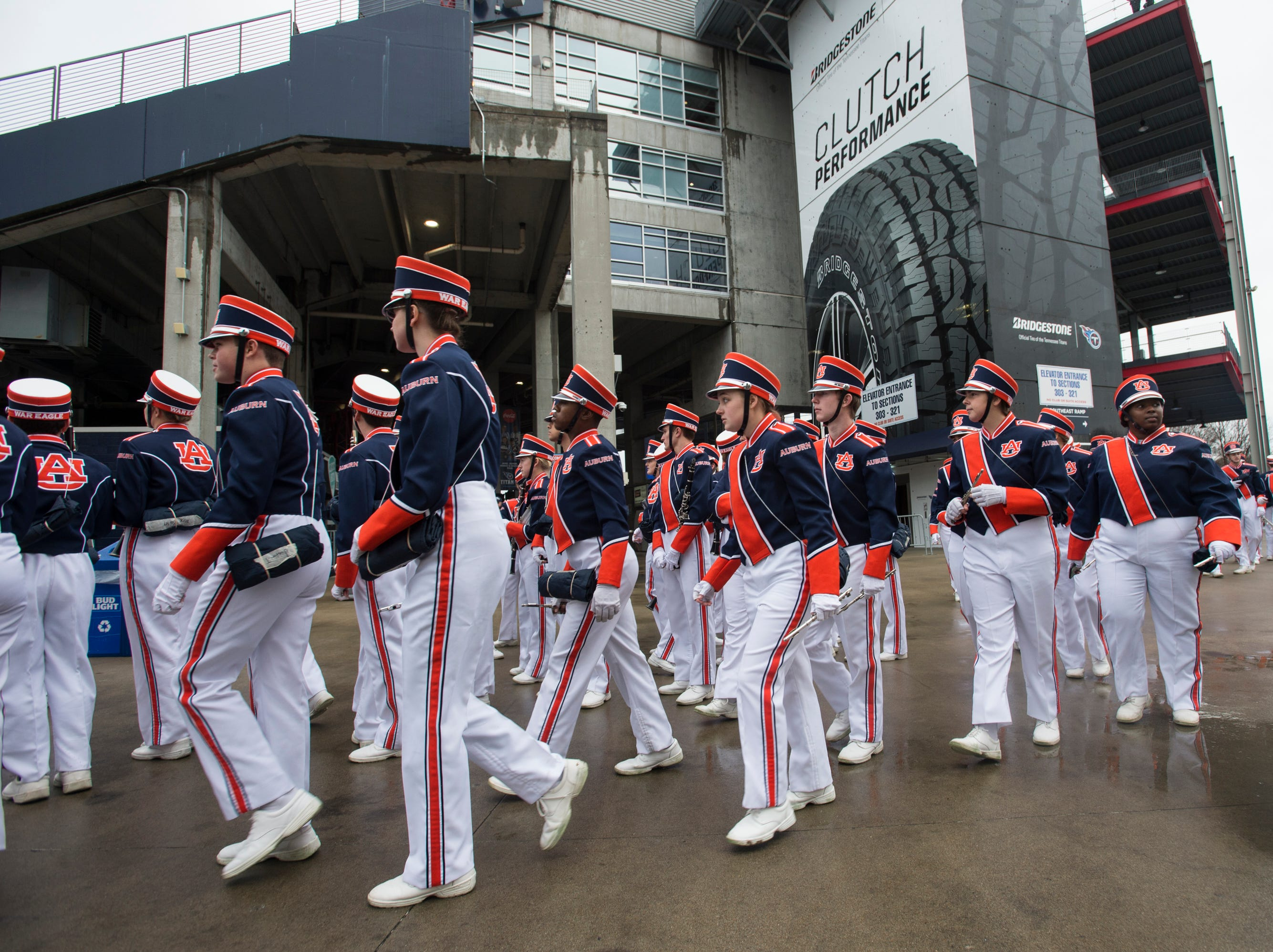 Auburn Marching band arrives at Nissan Stadium in Nashville, Tenn., on Friday, Dec. 28, 2018.
