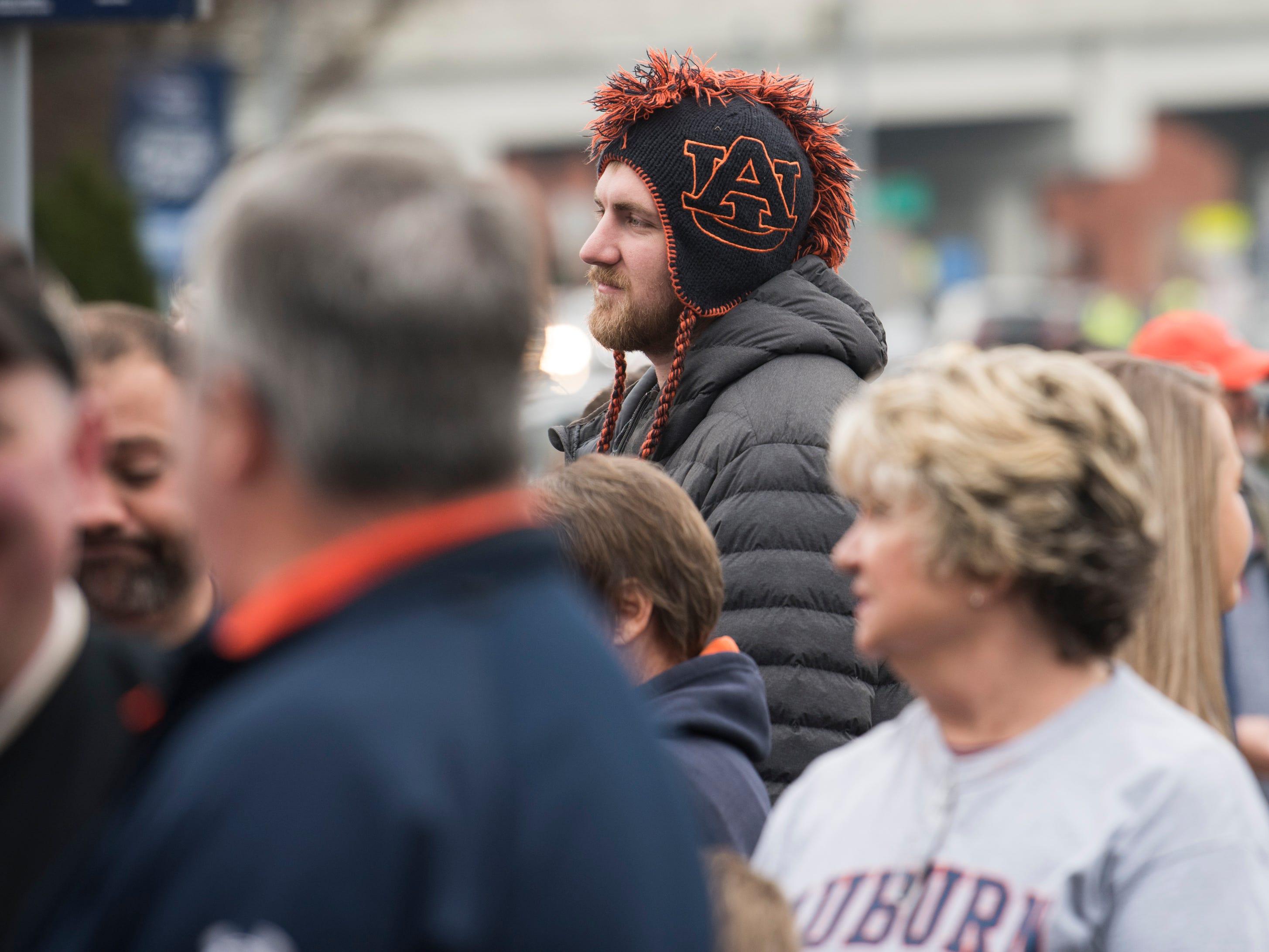Auburn fans wait in line before Auburn takes on Purdue in the Music City Bowl at Nissan Stadium in Nashville, Tenn., on Friday, Dec. 28, 2018.