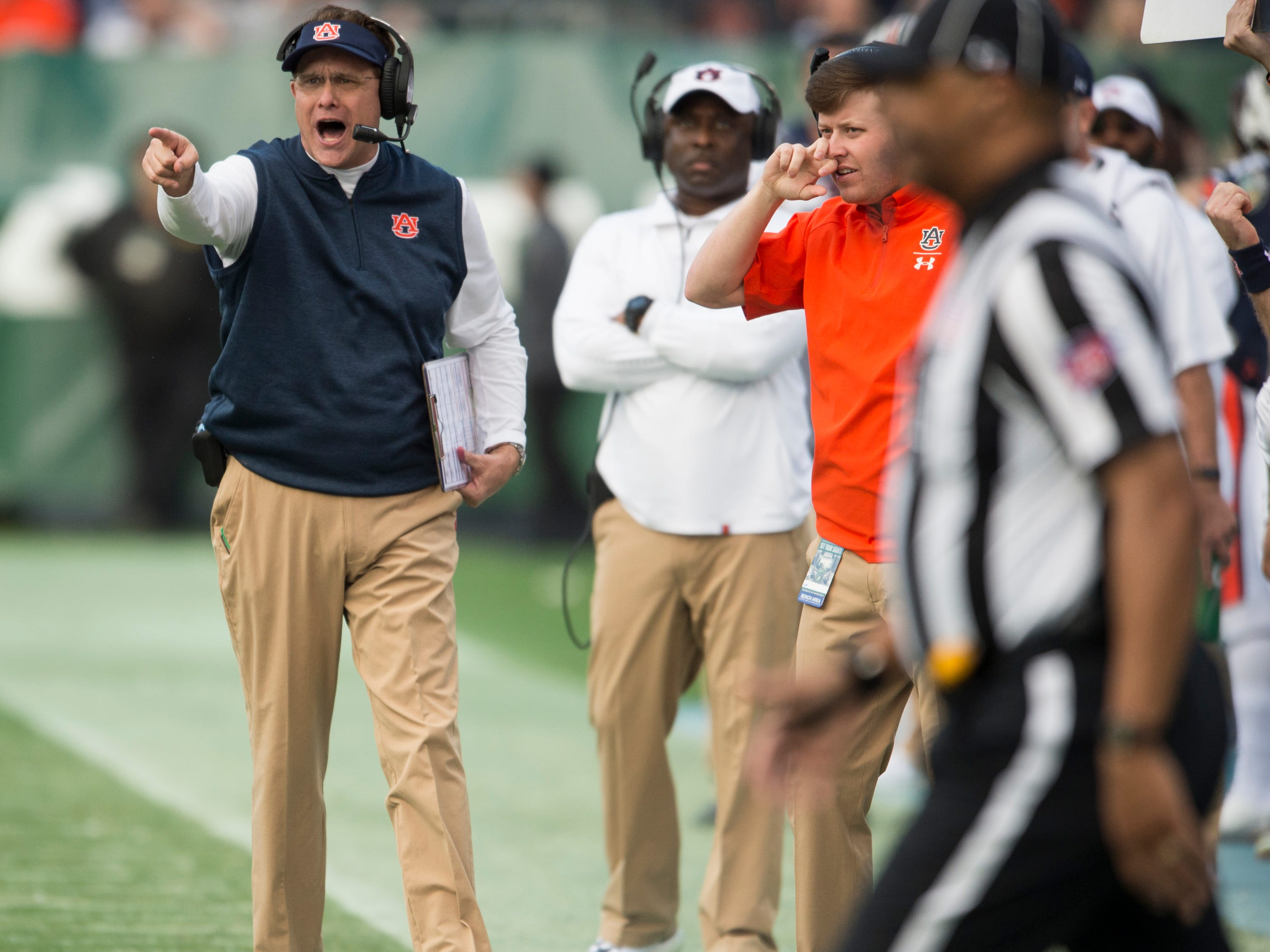 Auburn head coach Gus Malzahn yells from the sideline during the Music City Bowl at Nissan Stadium in Nashville, Tenn., on Friday, Dec. 28, 2018. Auburn defeated Purdue 63-14.