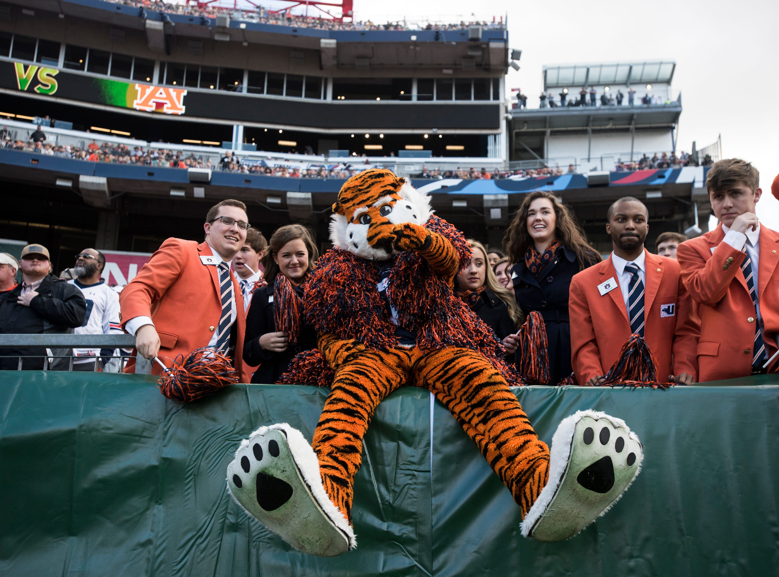 Auburn mascot Aubie jumps into the crowd during the Music City Bowl at Nissan Stadium in Nashville, Tenn., on Friday, Dec. 28, 2018. Auburn leads Purdue 56-7 at halftime.