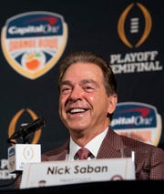 Alabama head coach Nick Saban laughs during the Orange Bowl Coaches Press Conference in Fort Lauderdale, Fla., on Friday December 28, 2018. Alabama plays Oklahoma in the Orange Bowl on Saturday.
