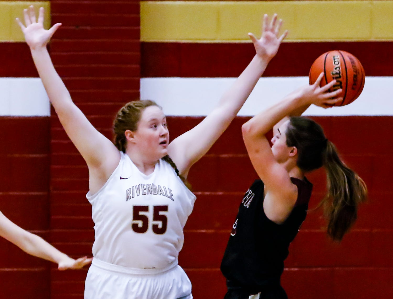 Riverdale's Katelyn Worley defends a Webster (Ky.) shot attempt.
