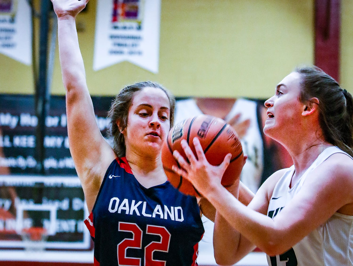 Oakland's Taylor Morton defends Webb's Emma Marlon Thursday at the State Farm Classic.
