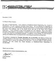 Huddleston-Steele Engineering sent this letter to some homeowners near the proposed multifamily complex.