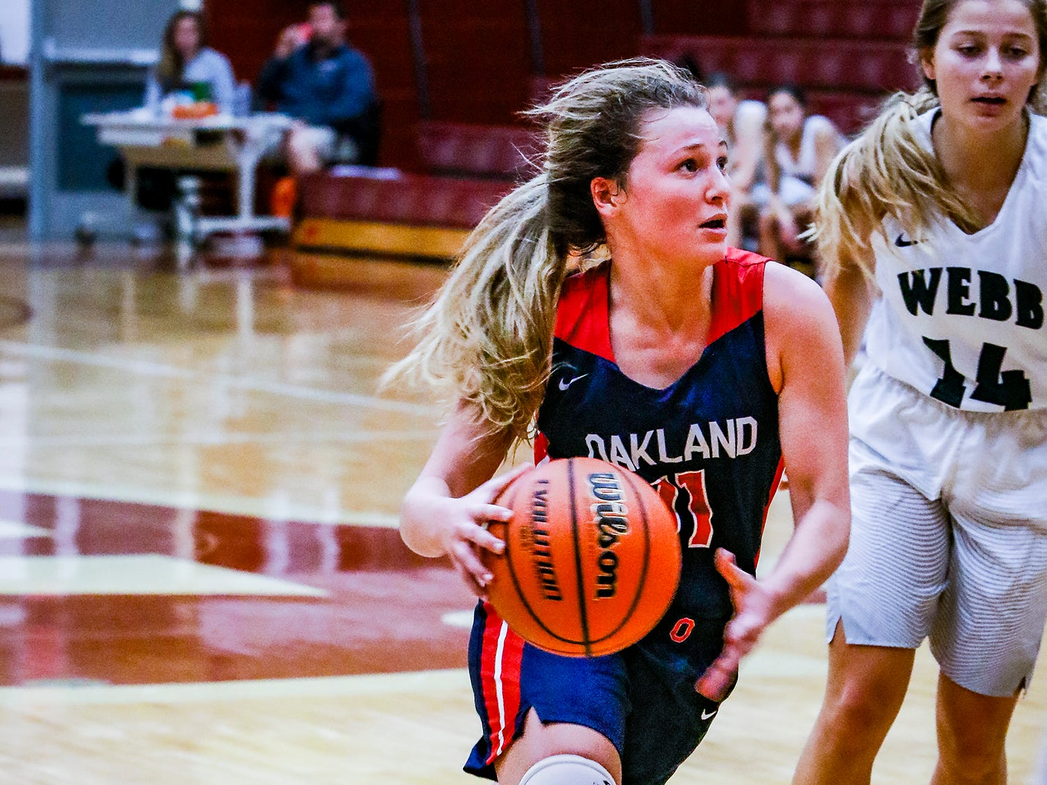 Oakland's Claira McGowan drives to the basket during Thursday's 48-47 win over Knox Webb.