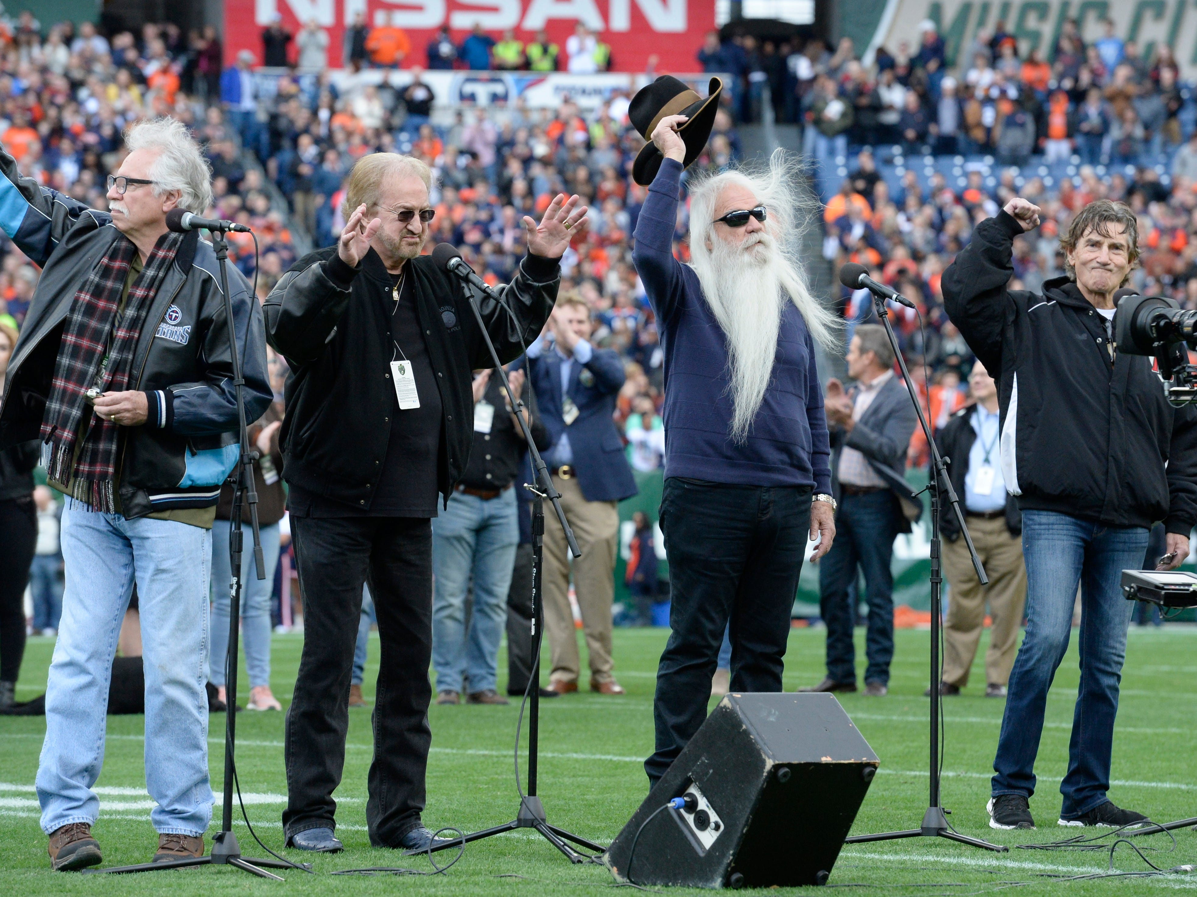 The Oak Ridge Boys sing the National Anthem at the Music City Bowl NCAA college football game Friday, Dec. 28, 2018, at Nissan Stadium in Nashville, Tenn.