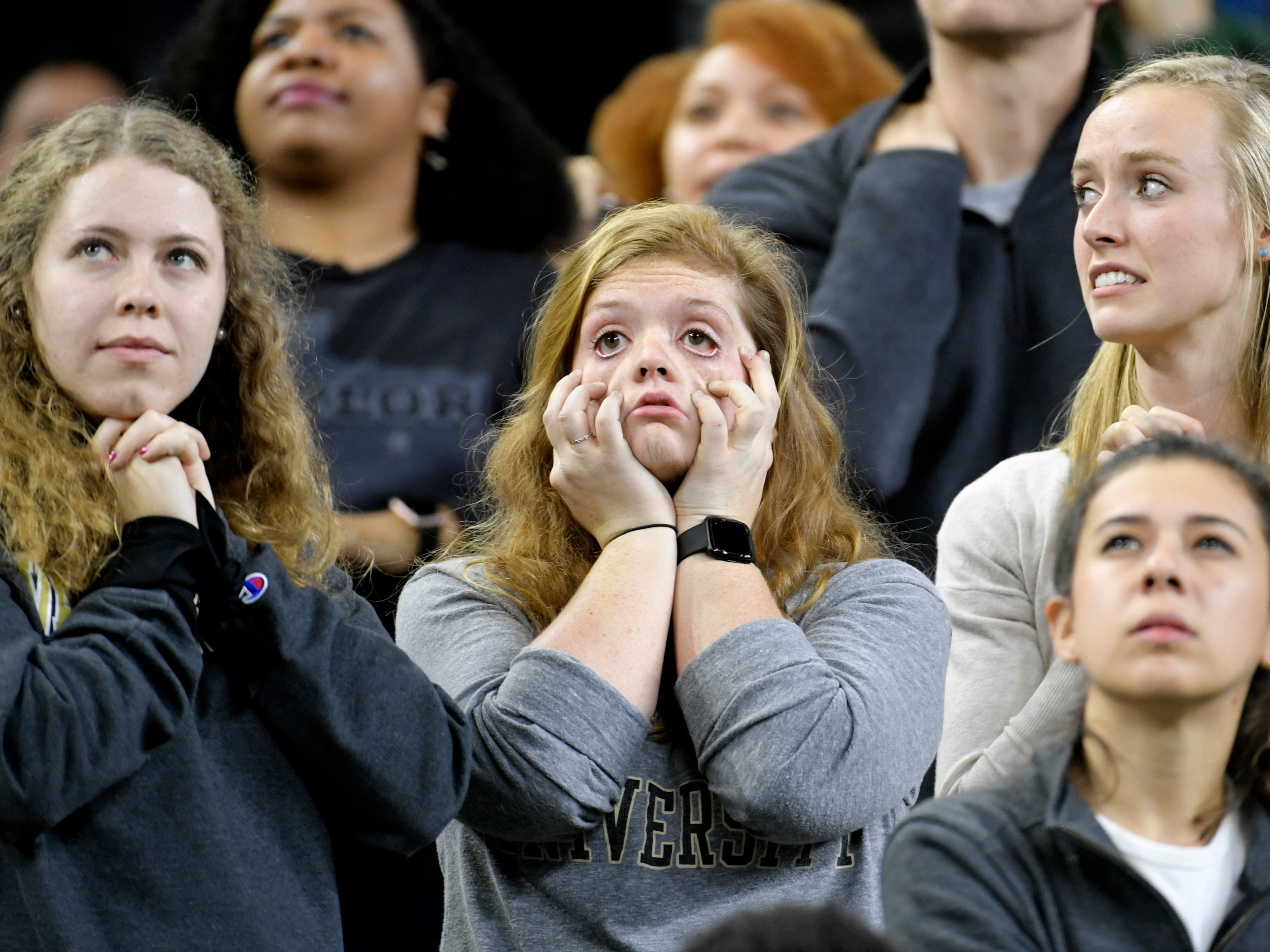 Vanderbilt fans react to the game late in the fourth quarter of the Academy Sports + Outdoors Texas Bowl at NRG Stadium in Houston on Thursday, Dec. 27, 2018.