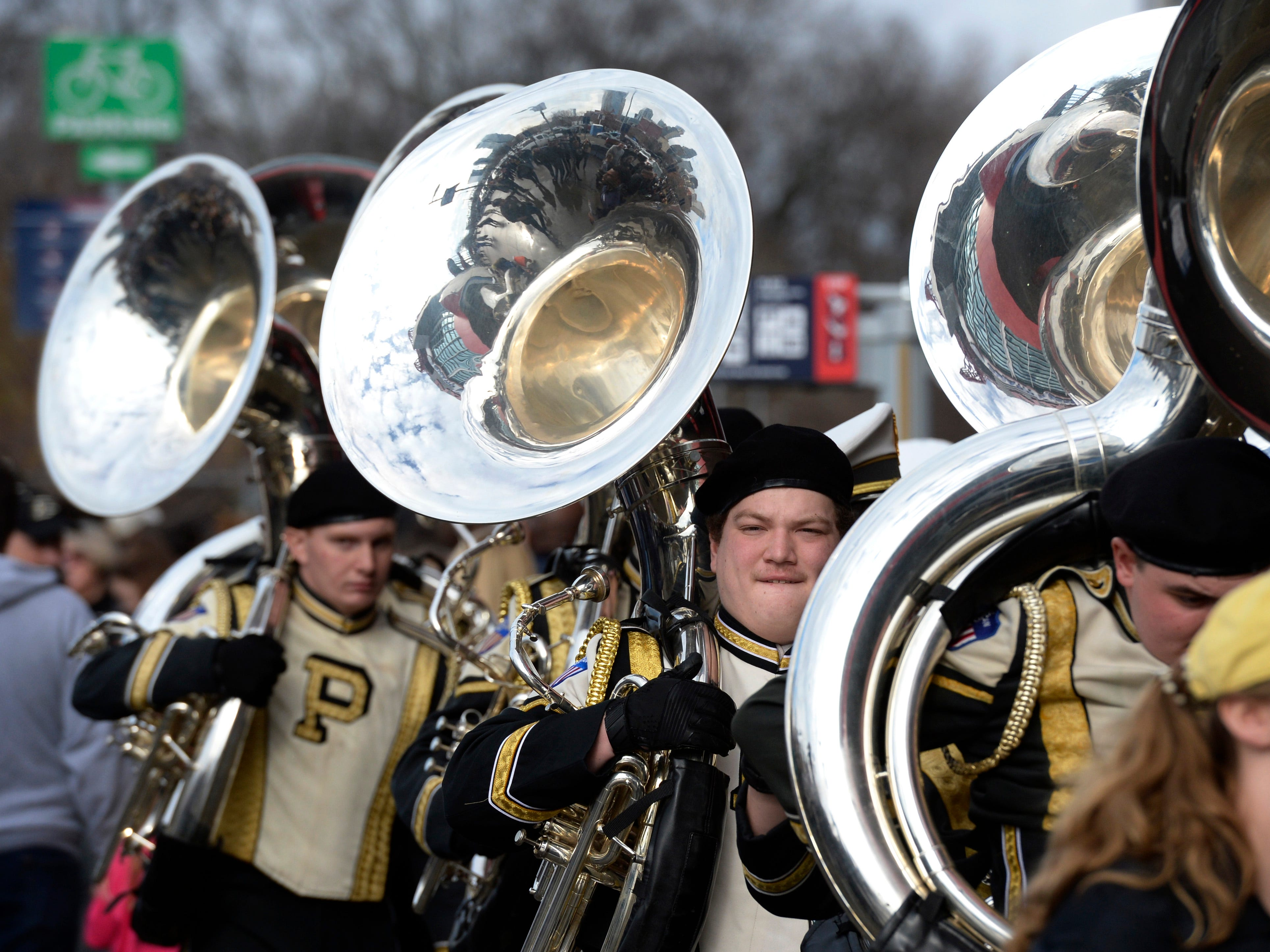 Purdue marching band arrives for the start of the Music City Bowl NCAA college football game Friday, Dec. 28, 2018, at Nissan Stadium in Nashville, Tenn.