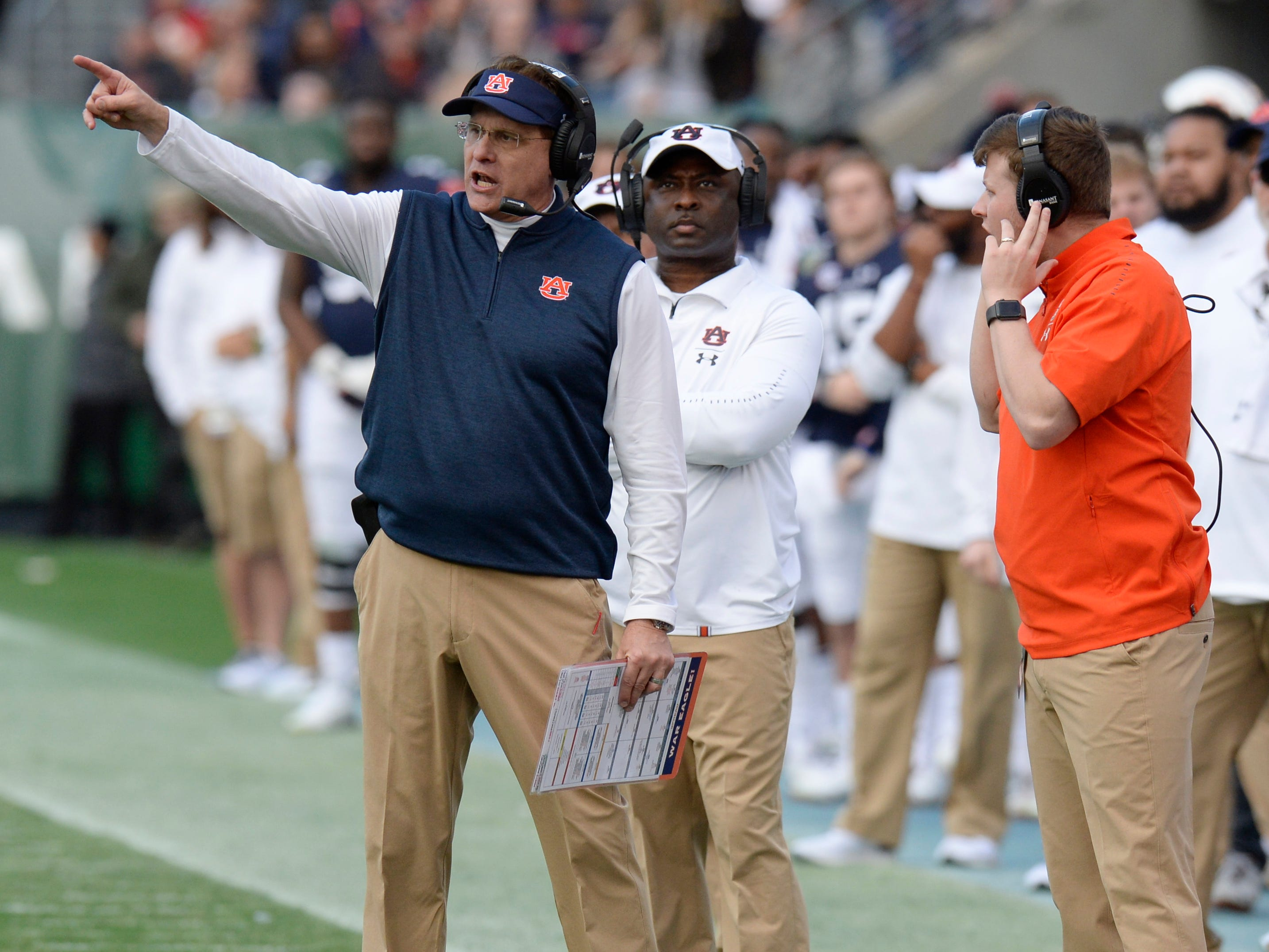 Auburn head coach Gus Malzahn gives directions from the sideline in the second quarter of the Music City Bowl NCAA college football game Friday, Dec. 28, 2018, at Nissan Stadium in Nashville, Tenn.
