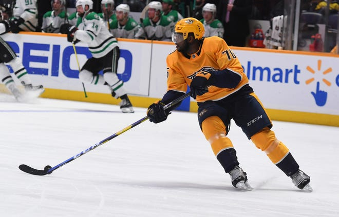 Nashville Predators defenseman P.K. Subban (76) skates with the puck during the second period against the Dallas Stars on Dec. 27, 2018.