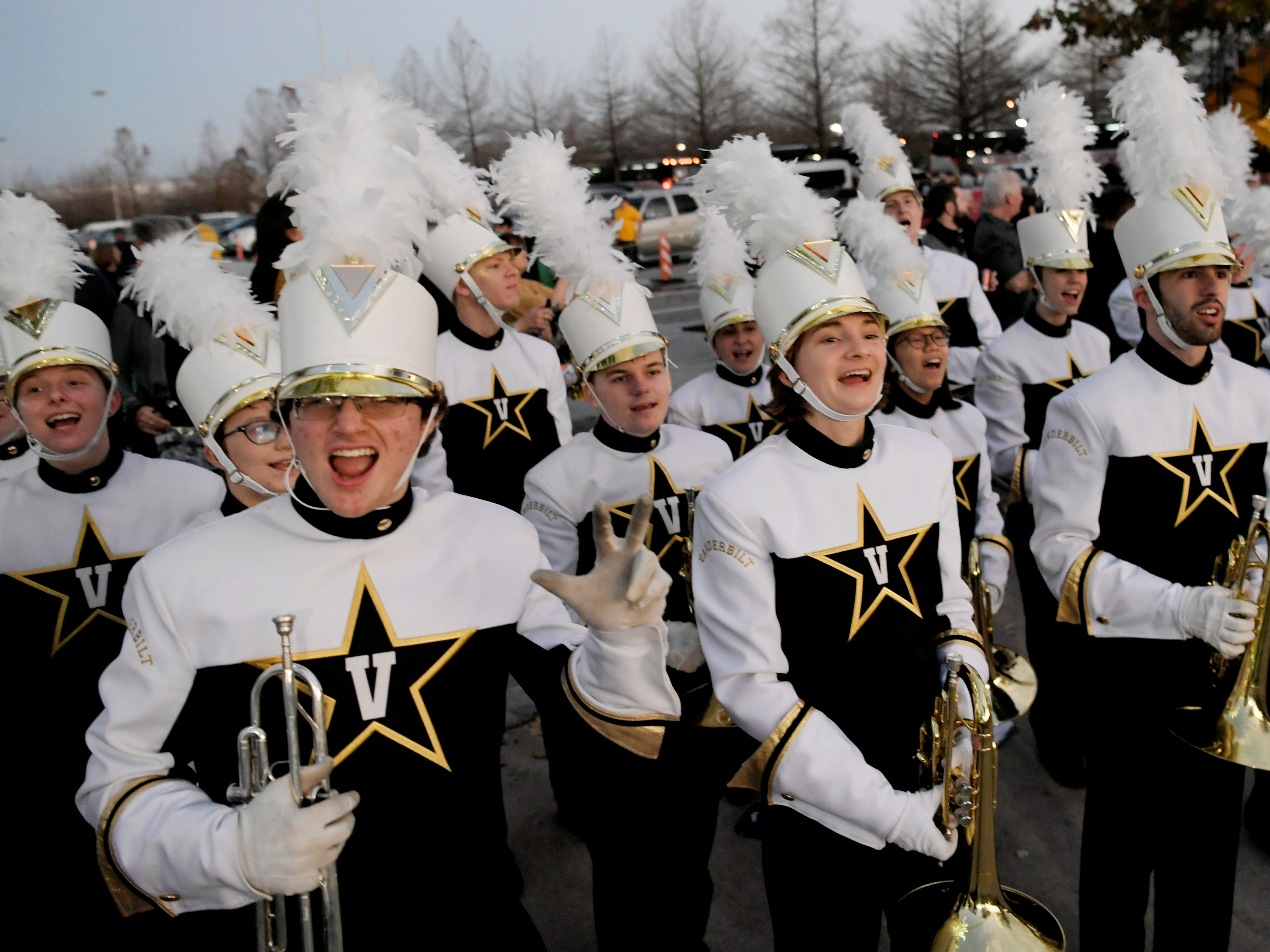 Vanderbilt's marching band participates in the Star Walk before the Academy Sports + Outdoors Texas Bowl at NRG Stadium in Houston on Thursday, Dec. 27, 2018.