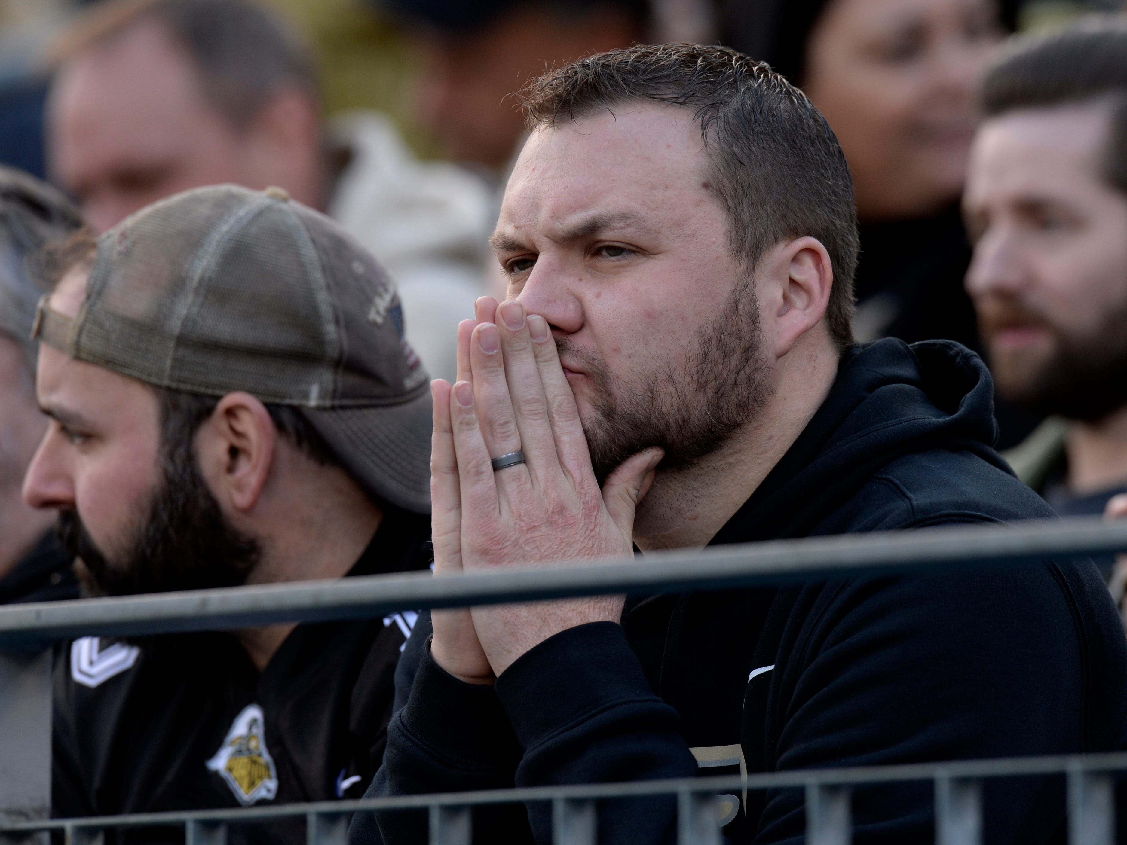 A fan doesn't seem to like what he sees in the second quarter of the Music City Bowl NCAA college football game Friday, Dec. 28, 2018, at Nissan Stadium in Nashville, Tenn.
