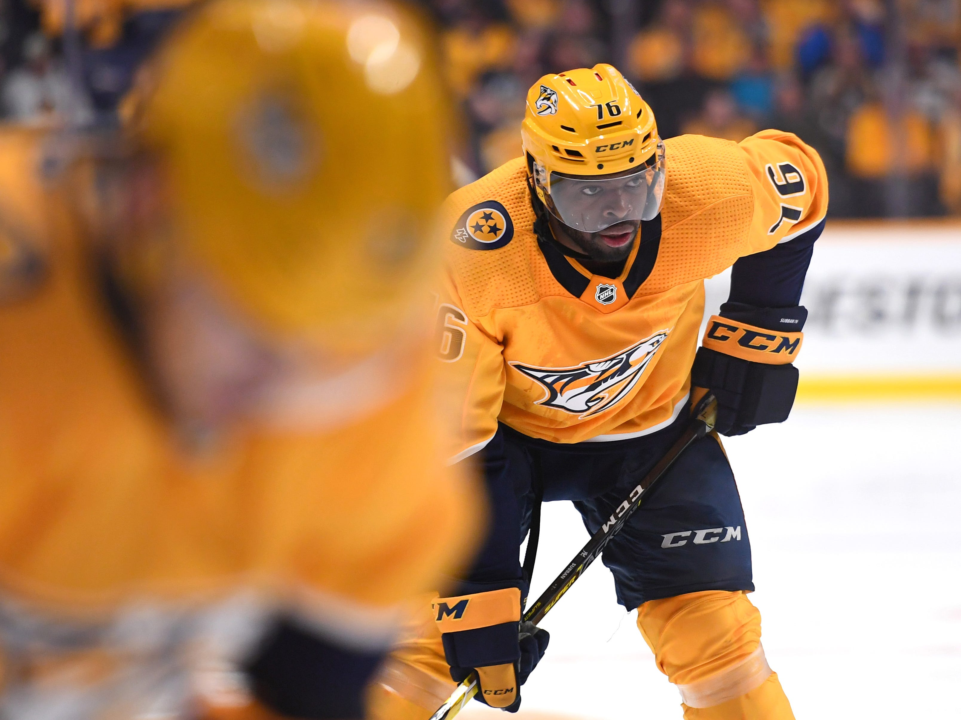 Nashville Predators defenseman P.K. Subban (76) lines up for a face off during the first period against the Dallas Stars at Bridgestone Arena.