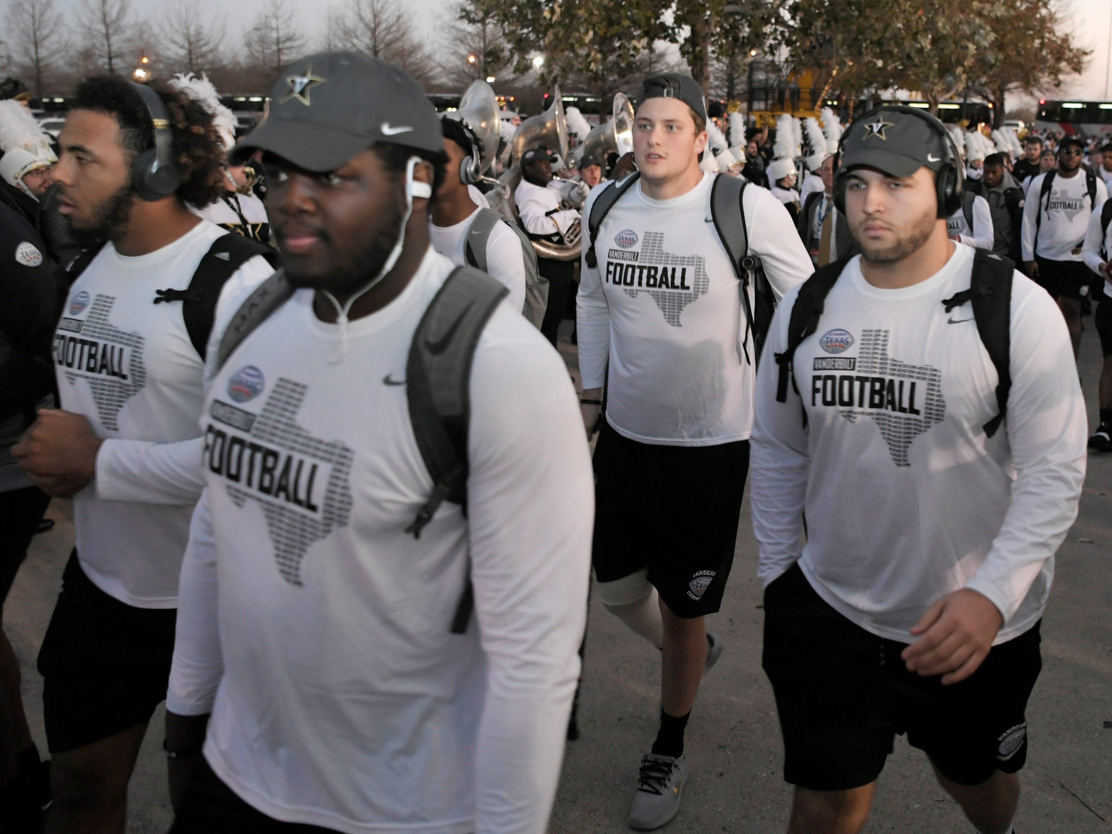 Vanderbilt players participate in the Star Walk before the Academy Sports + Outdoors Texas Bowl at NRG Stadium in Houston on Thursday, Dec. 27, 2018.