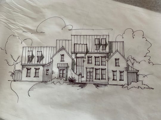 This sketch by designer Guy Land shows what the home the Cataldos purchased on Old Hillsboro Road will look like once it's remodeled into a 7,500-square-foot suburban country farmhouse with six bedrooms, a game room, a saloon-type bar, bowling alley, wine grotto and whiskey bar.