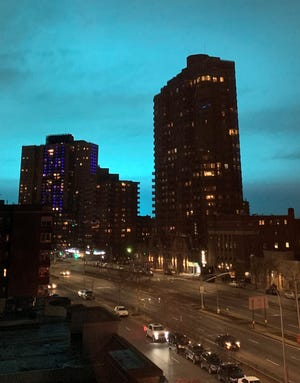 A blue sky formed in Queens, New York after a transformer exploded in Queens
