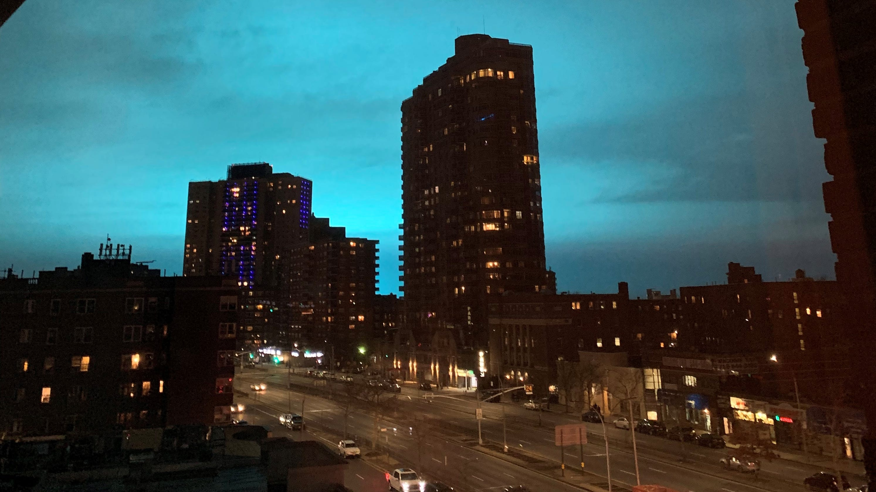 Night sky in Astoria, Queens turns bright blue after Con Ed