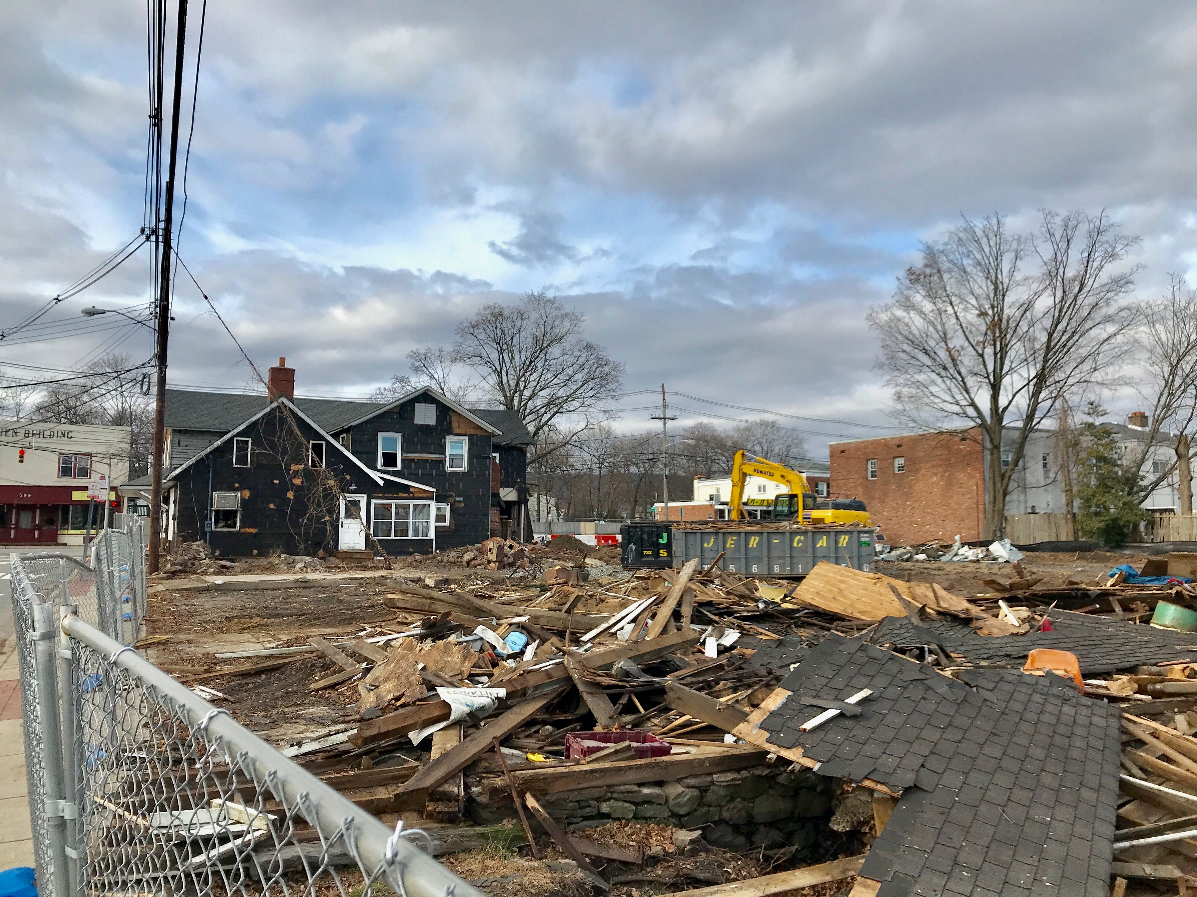 The Jones' Hardware site in Pequannock on Christmas Day, 2018. The building pictured was the last to be demolished days later to make way for a new Chase bank.