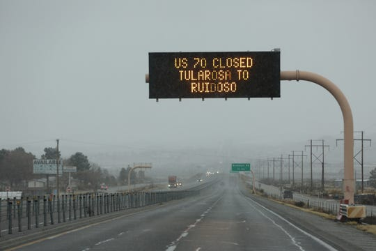 A sign located on US 70 near Brahman Road informs drivers that that the highway is closed from Tularosa to Ruidoso  on Friday, Dec. 28, 2018.