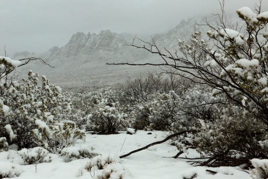 Snow at the base of th Organ Mountains  on Friday, Dec. 28, 2018 near Baylor Pass National Recreation Trail.