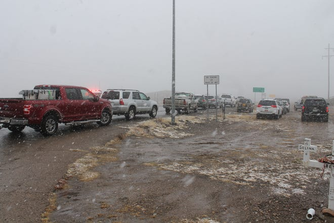 Vehicles attempting to travel east on Highway 82 were stopped for hours on Friday afternoon due to the inclement weather.