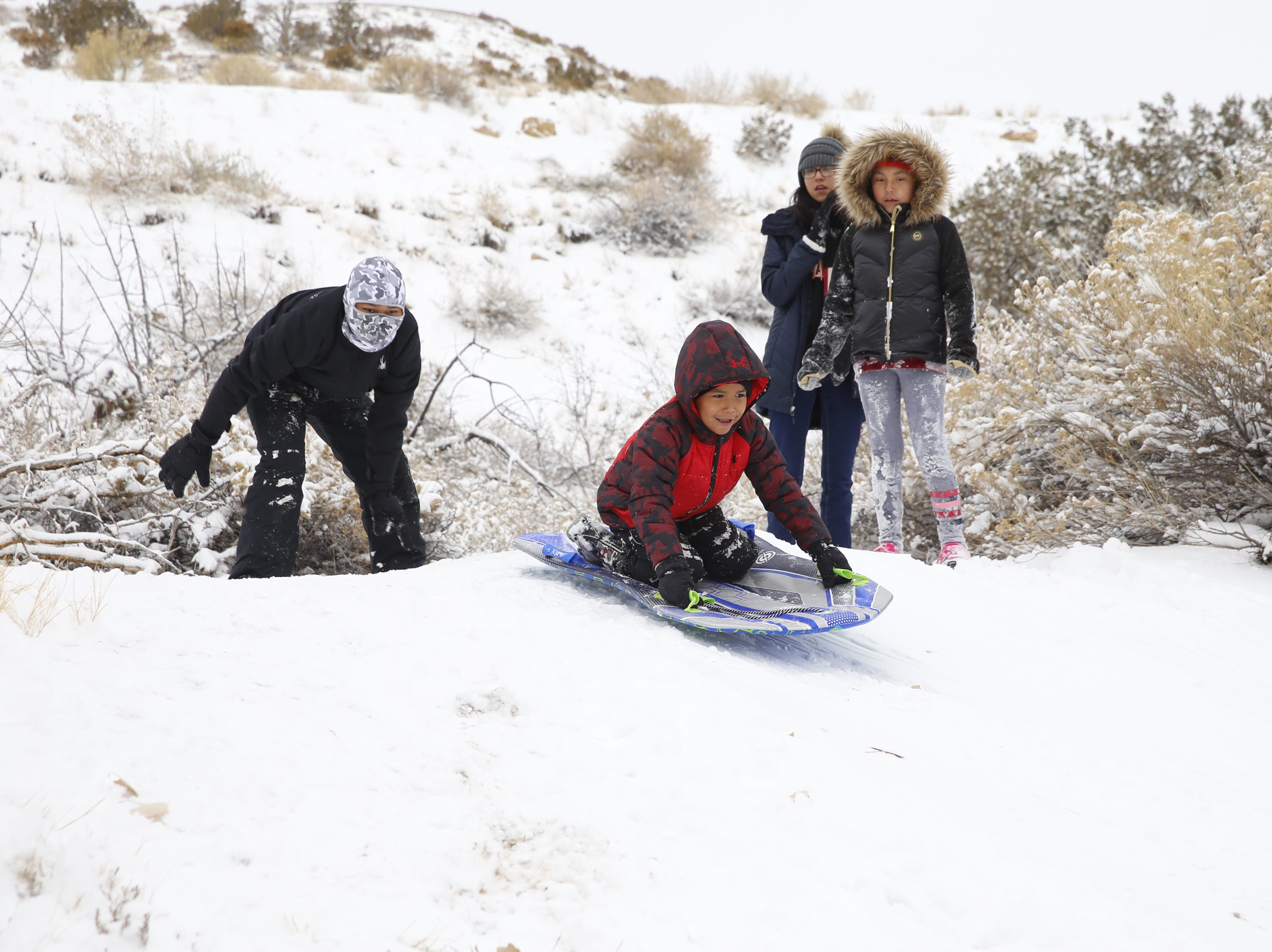 From left, Marcus Young, Noah Young, Canossa Victor and Leyiah Largo enjoy the snow on Friday at Kiwanis Park in Farmington.