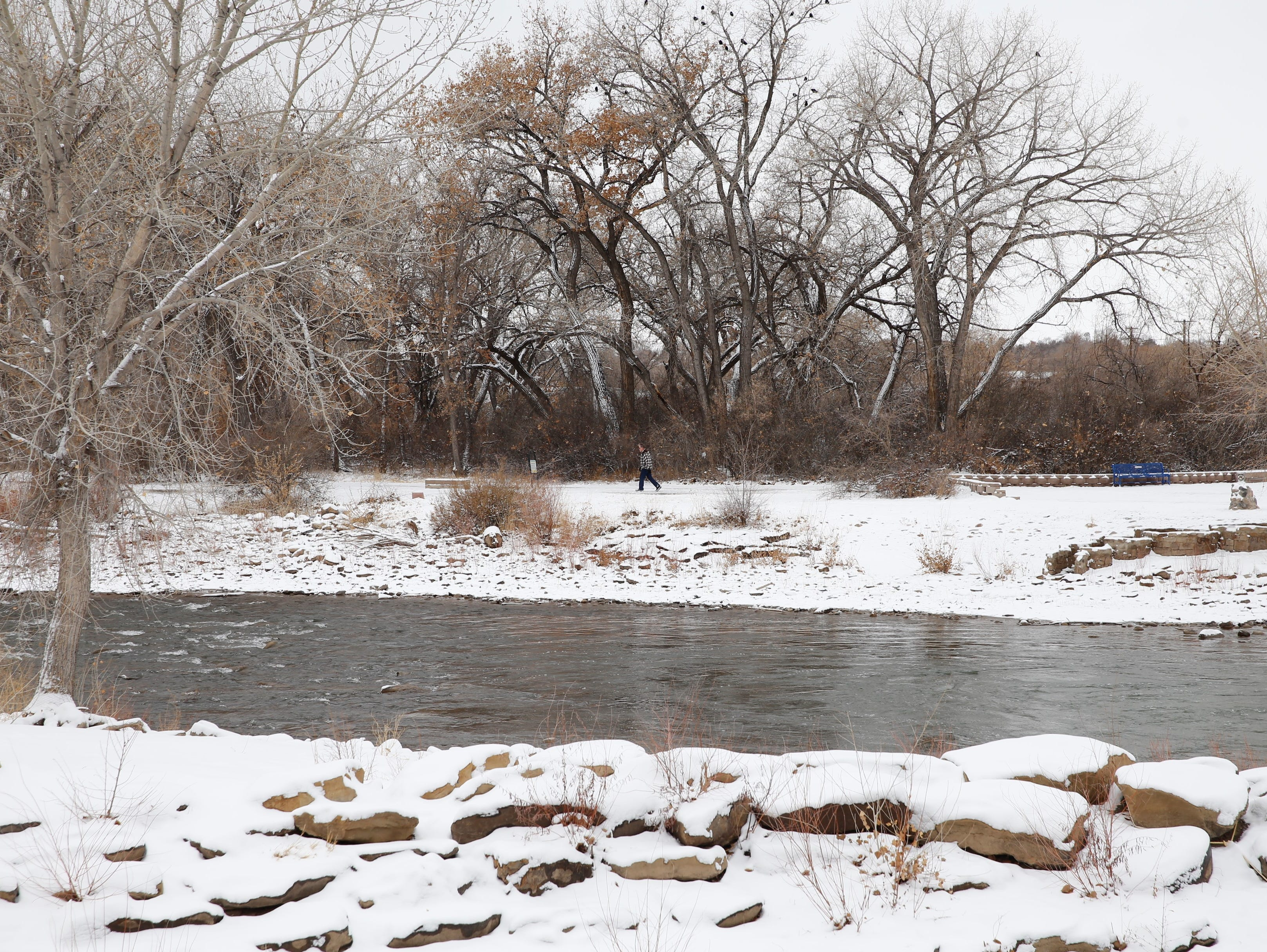 The winter weather on Friday did not stop people from walking the Animas River Trails in Farmington.