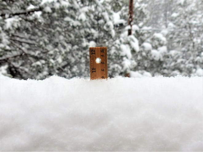 A two-day total in Ruidoso of nearly one foot of snow and it's still falling hard Friday morning.