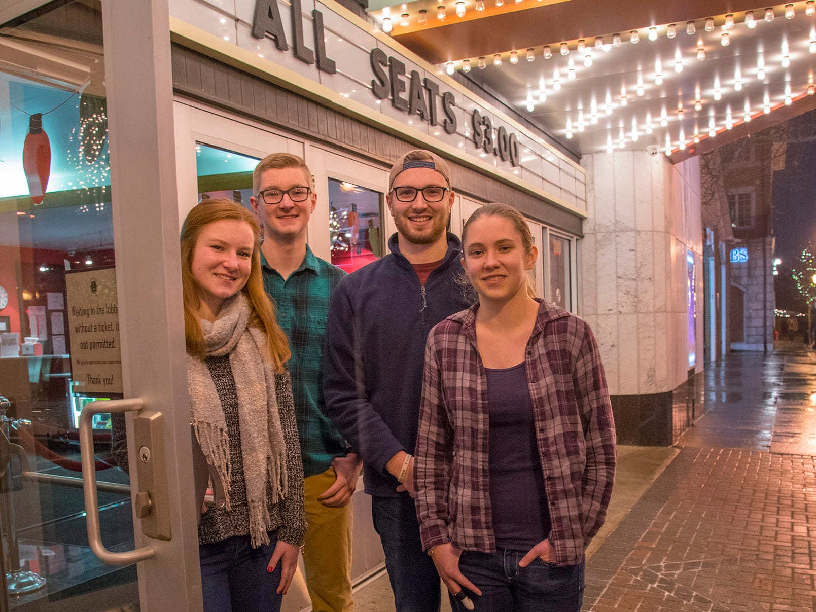 The Sandberg kids, Catherine, 19 years old, Patrick, 18, Nick, 24, and Melanie, 22, at the Penn Theater.
