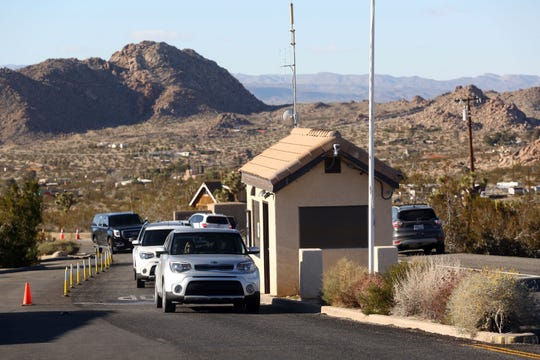 The shuttered ticket booth at Joshua Tree National Park on Friday, December 28, 2018. Visitors continue to enter the park despite it being unstaffed due to the government shutdown.