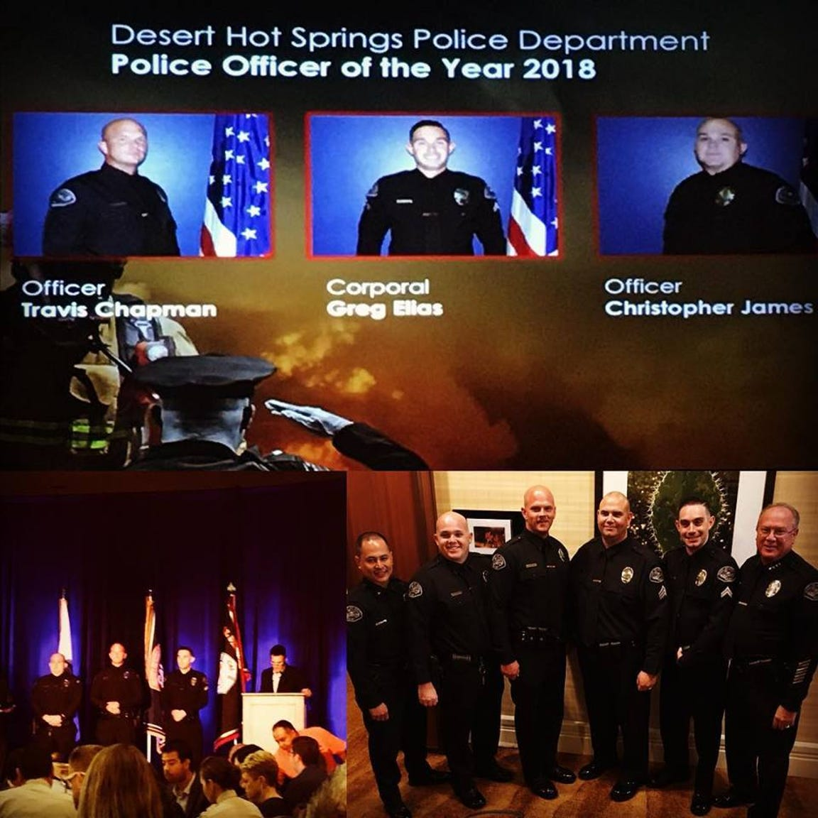 Travis Chapman was recognized on Oct. 4, 2018 with the 2018 Desert Hot Springs Police Officer's of the Year Award.