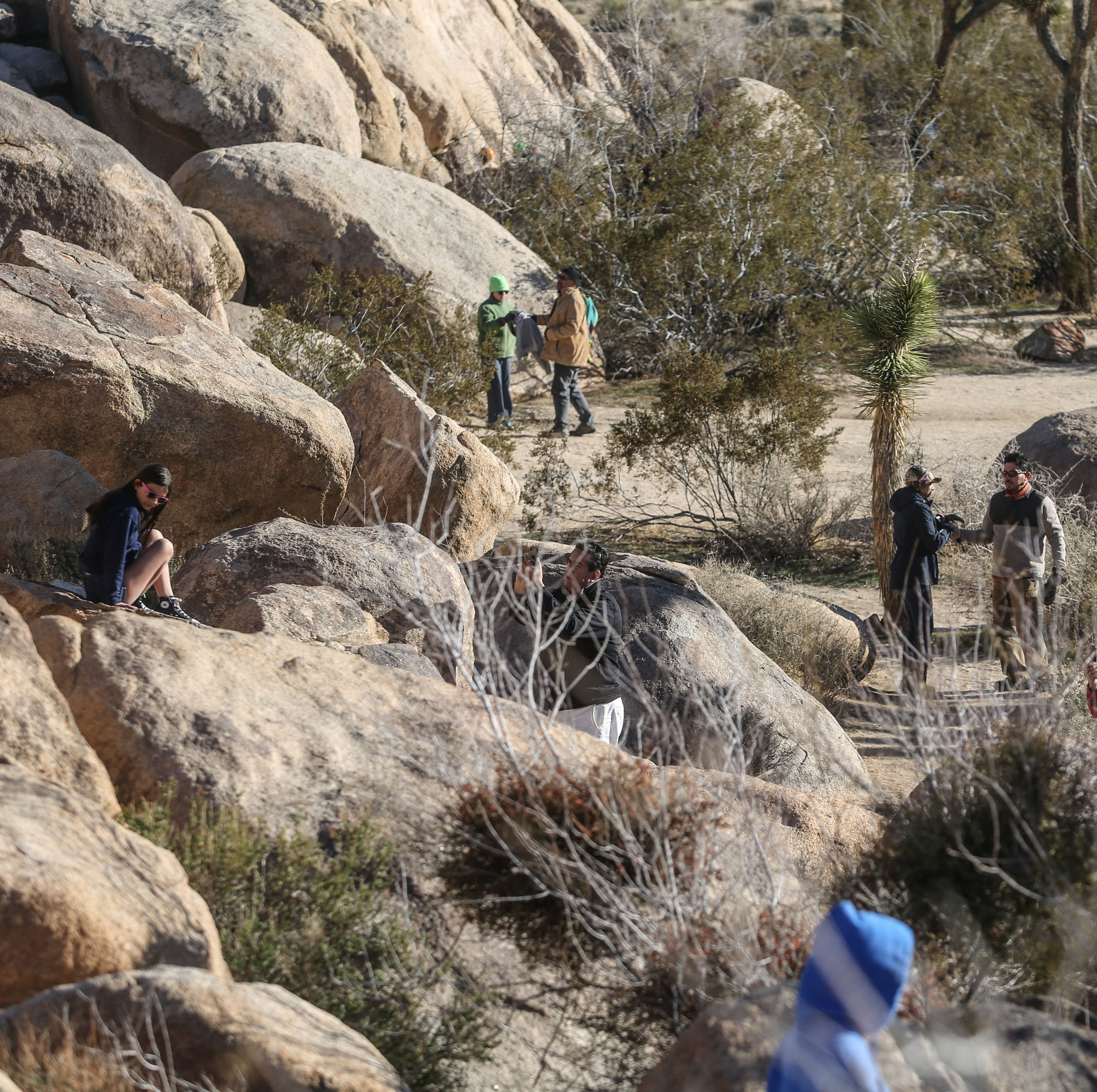 Tourists at Quail Springs at Joshua Tree National Park on Friday, December 28, 2018. Visitors continue to enter the park despite it being unstaffed due to the government shutdown.