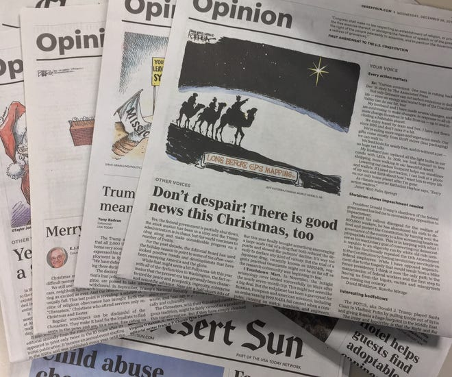 The Desert Sun's print opinion pages.
