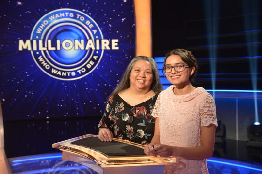 """UWF student Samantha Brown poses for a photo with her mother, Clarissa, during the filming of Brown's appearance on """"Who Wants to Be a Millionaire"""" in Las Vegas."""