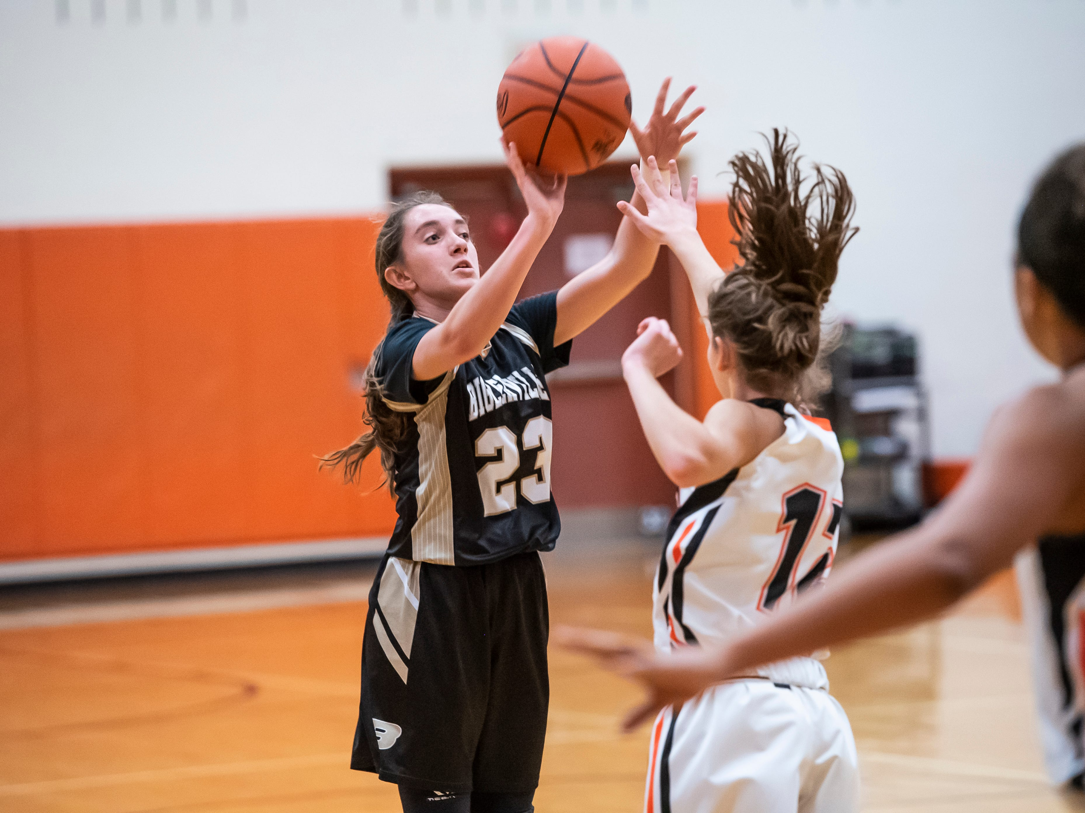 Biglerville's Katie Woolson shoots the ball during play against Hanover in the championship game of the Hanover Holiday Classic on Friday, December 28, 2018. Hanover won 30-20.
