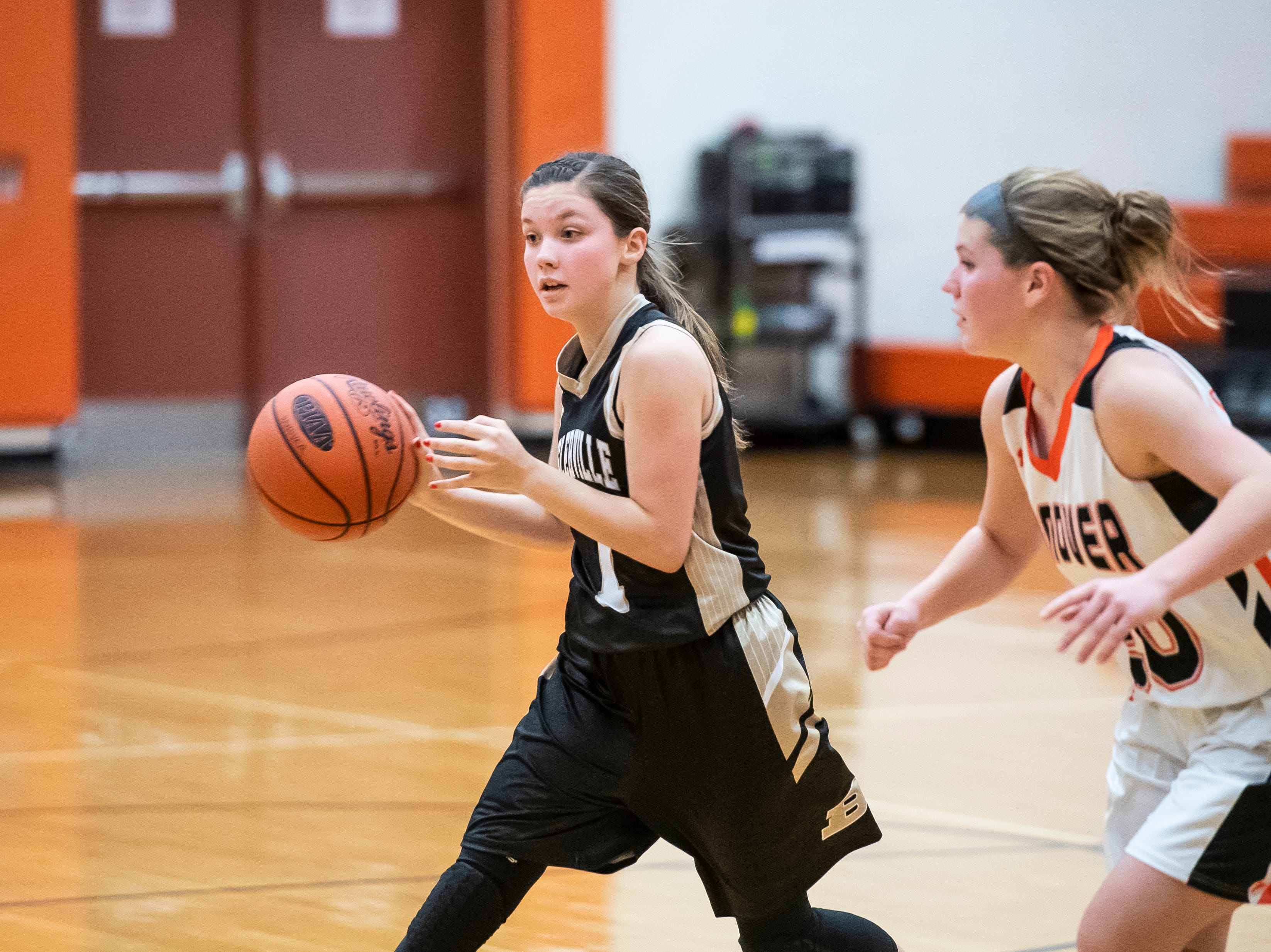 Biglerville's Lexie Williams passes the ball during play against Hanover in the championship game of the Hanover Holiday Classic on Friday, December 28, 2018. Hanover won 30-20.