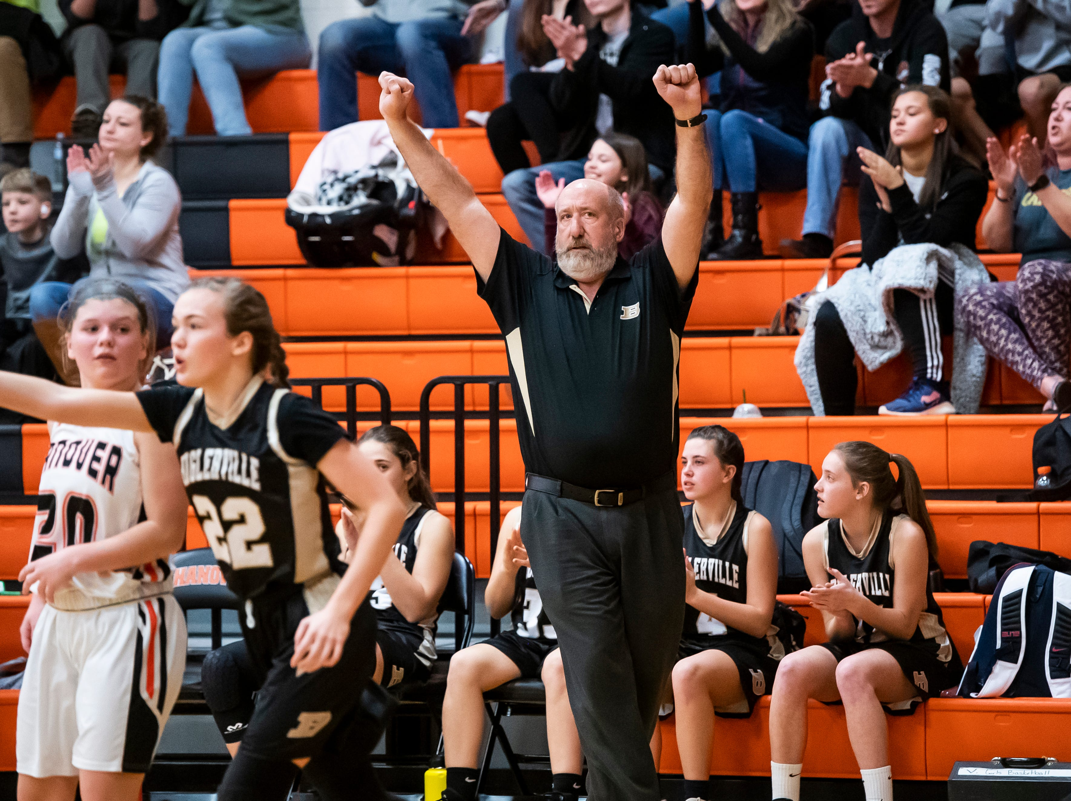 Biglerville head coach Jeff Kahlbaugh reacts after the Canners score a three-pointer during play against Hanover in the championship game of the Hanover Holiday Classic on Friday, December 28, 2018. Hanover won 30-20.