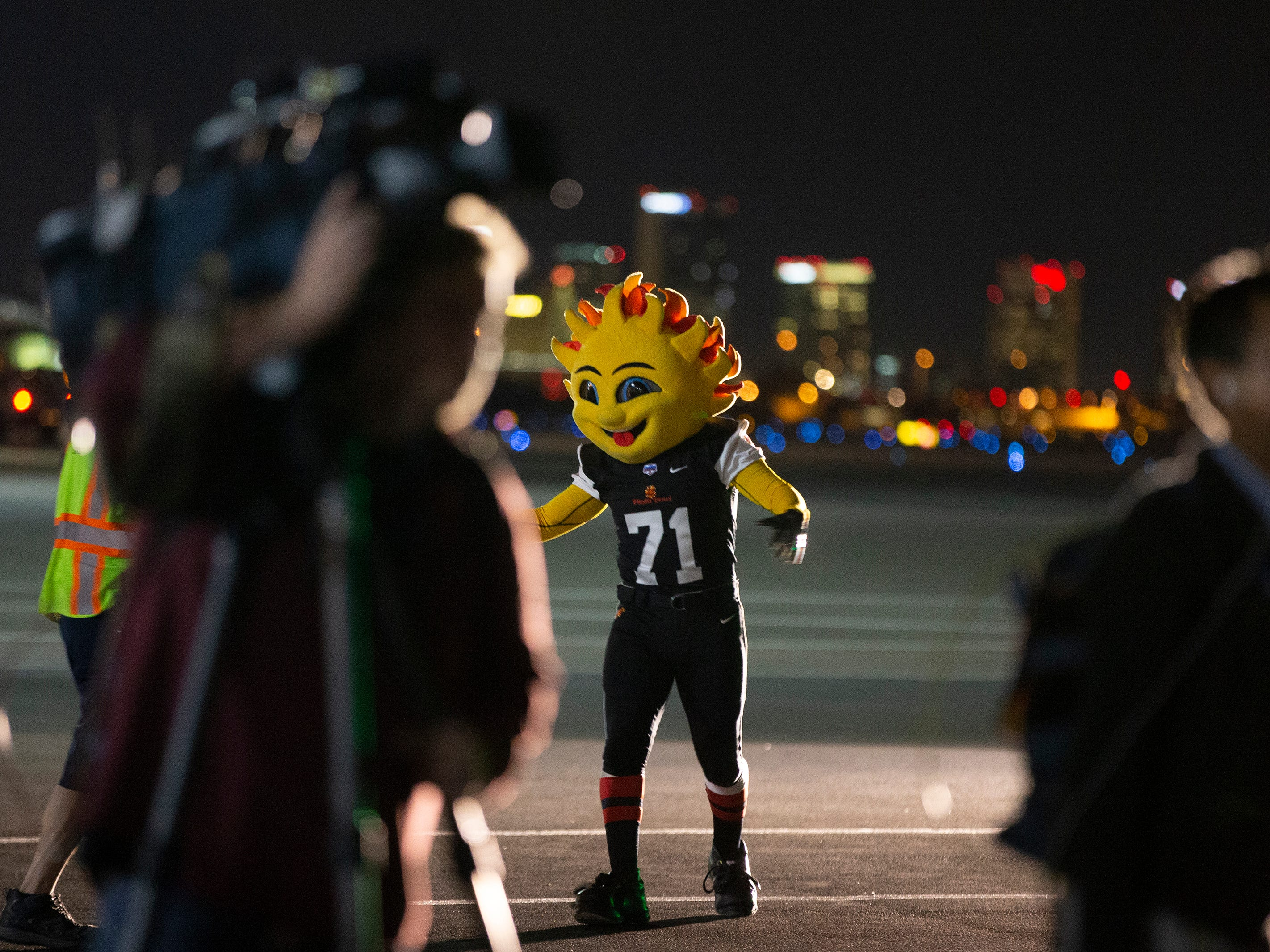 Spirit, the Fiesta Bowl mascot, waits for LSU to arrive at Sky Harbor International Airport in Phoenix on December 27. LSU will face Central Florida in the Fiesta Bowl on New Year's Day