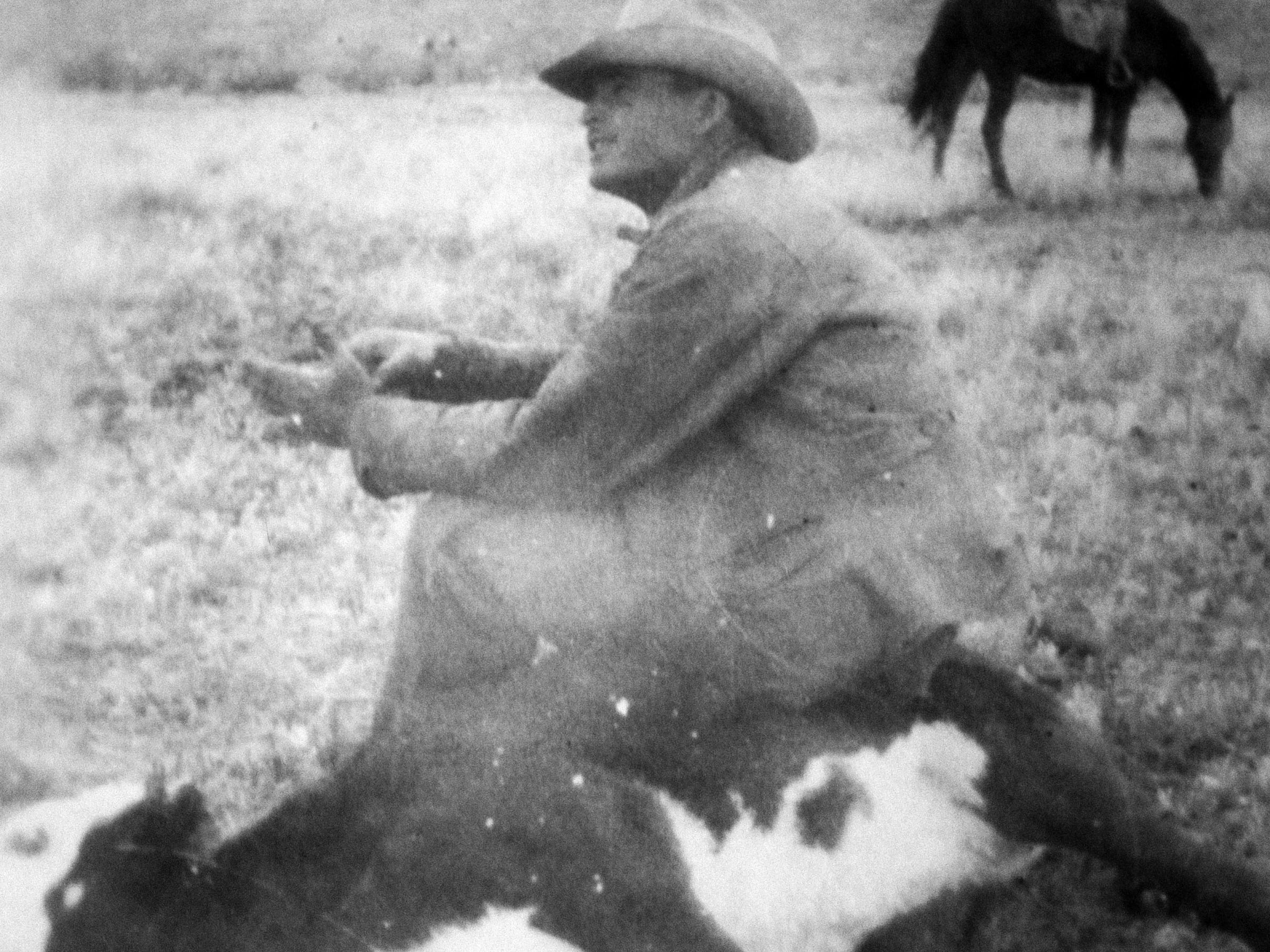 Harry Day, the father of former Supreme Court Justice Sandra Day O'Connor, during a calf round-up in the late 1940s at the Lazy B Ranch in Duncan, Ariz.