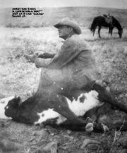 Harry Day, the father of former Supreme Court Justice Sandra Day O'Connor, during a calf round-up in the late 1940s.