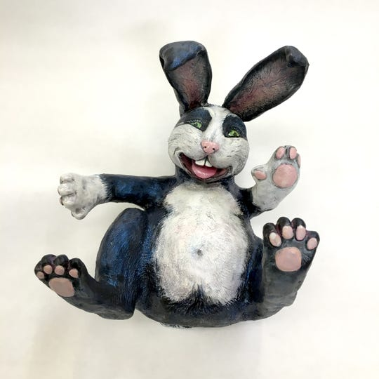 "Kristine Kollasch's ""I Don't Mime,"" high fire clay with an acrylic paint finish."