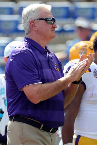 Oct 6, 2018; Gainesville, FL, USA; LSU Tigers offensive coordinator Steve Ensminger prior to the game at Ben Hill Griffin Stadium.  Kim Klement-USA TODAY Sports