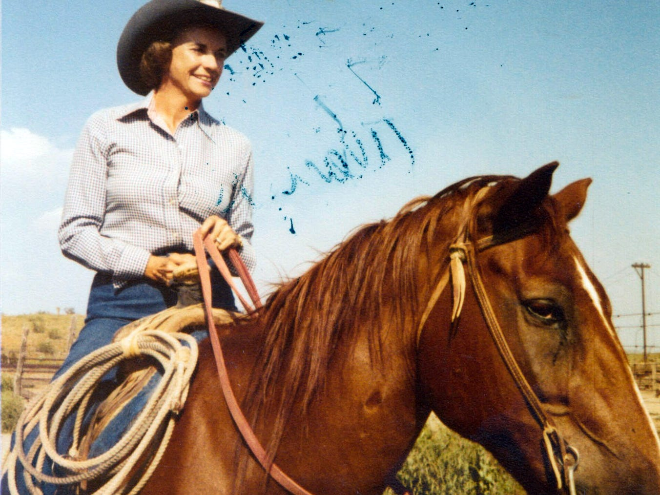 """Sandra Day O'Connor, rides her favorite horse, """"Chico."""" at the Lazy B Ranch outside of Duncan, Ariz., in the 1950s."""