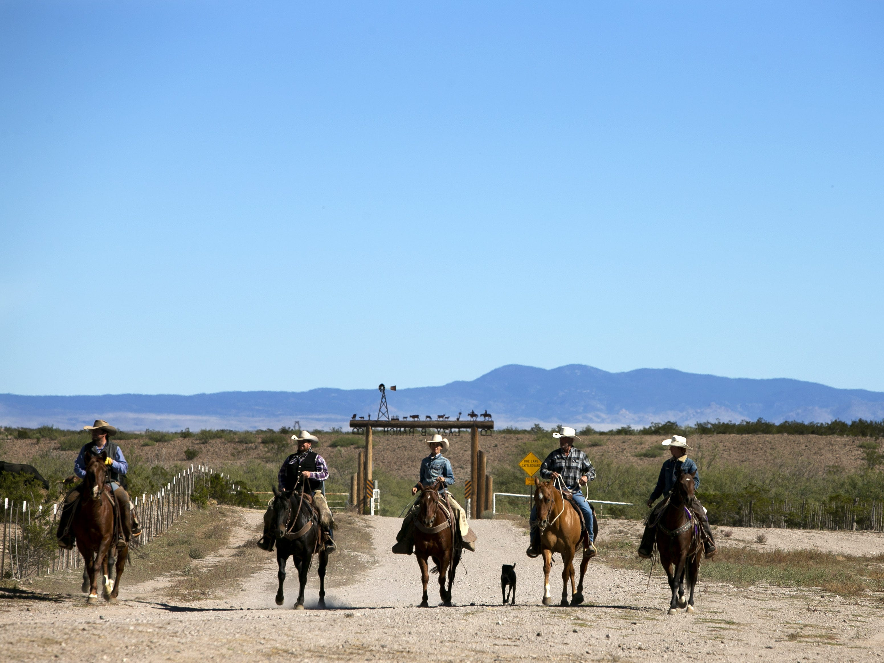 Cowboys at the Lazy B Ranch outside of Duncan, Ariz., on Nov. 2, 2018. Former Supreme Court Justice Sandra Day O'Connor grew up on the ranch.