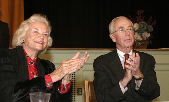 In this March 9, 2004, photo, then-Supreme Court Justice Sandra Day O'Connor and her husband John, attend an awards ceremony in Huntington, N.Y.