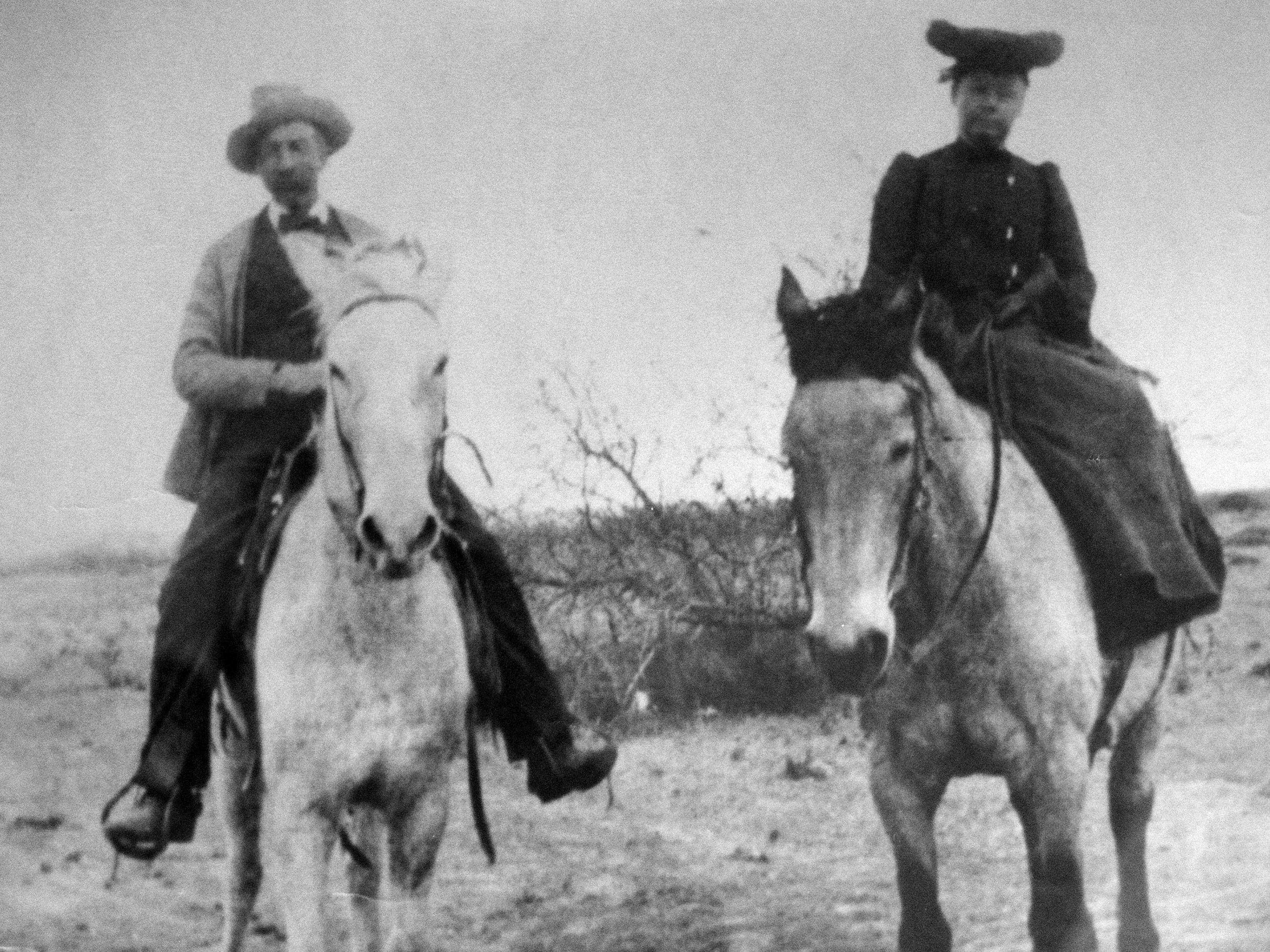 Henry Clay Day and Alice Day, the grandparents of former Supreme Court Justice Sandra Day O'Connor, at the Lazy B Ranch in Duncan, Ariz., in the 1910s.