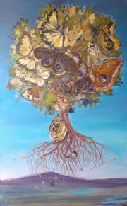 "Moth Tree by Jo-Ann Lowney, 48 x 30"" oil on linen 2018."