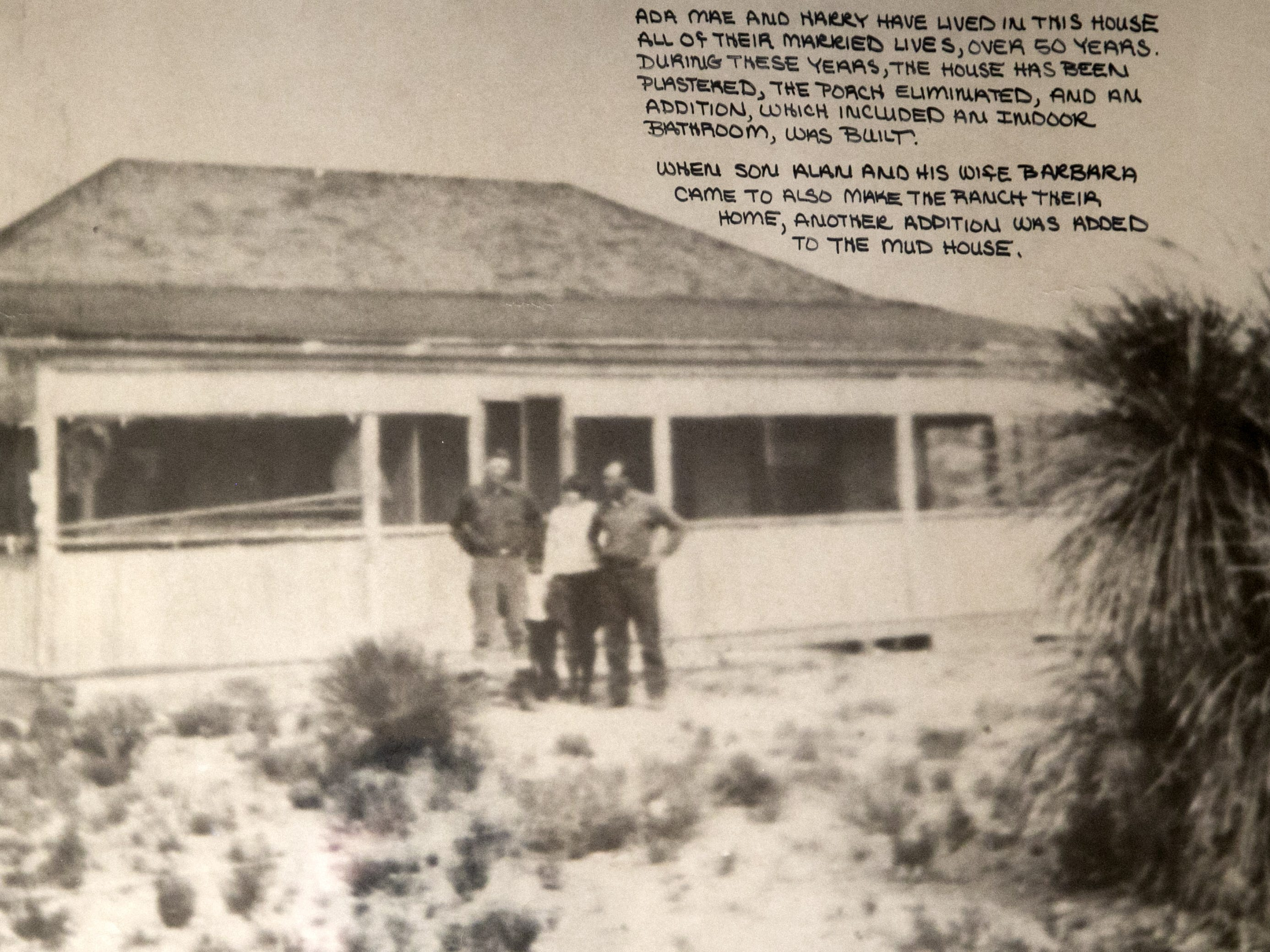 Harry Alfred Day (far right) and Ada Mae Wilkey Day (second from right), the parents of former Supreme Court Justice Sandra Day O'Connor, in front of the home O'Connor grew up in on the Lazy B Ranch in Duncan, Ariz. This photo is from the mid-1920s.
