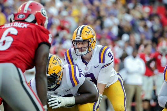 LSU Tigers quarterback Joe Burrow (9) against the Georgia Bulldogs during the second half at Tiger Stadium Oct. 13, 2018.  Derick E. Hingle-USA TODAY Sports